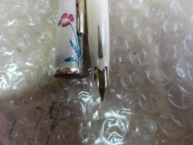 万年筆 プラチナ 18 革張り花柄 薄い茶色_画像2