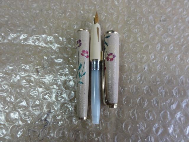 万年筆 プラチナ 18 革張り花柄 薄い茶色_画像9