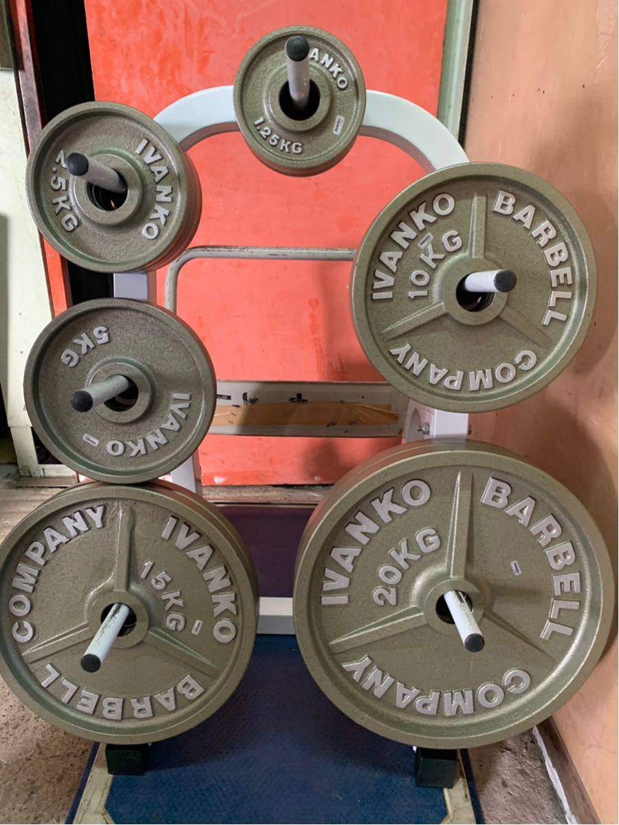 Φ50 オリンピックプレート イヴァンコ IVANKO BARBELL COMPANY バーベル プレート スタンド(ラック) 付き 合計115kg an_画像2