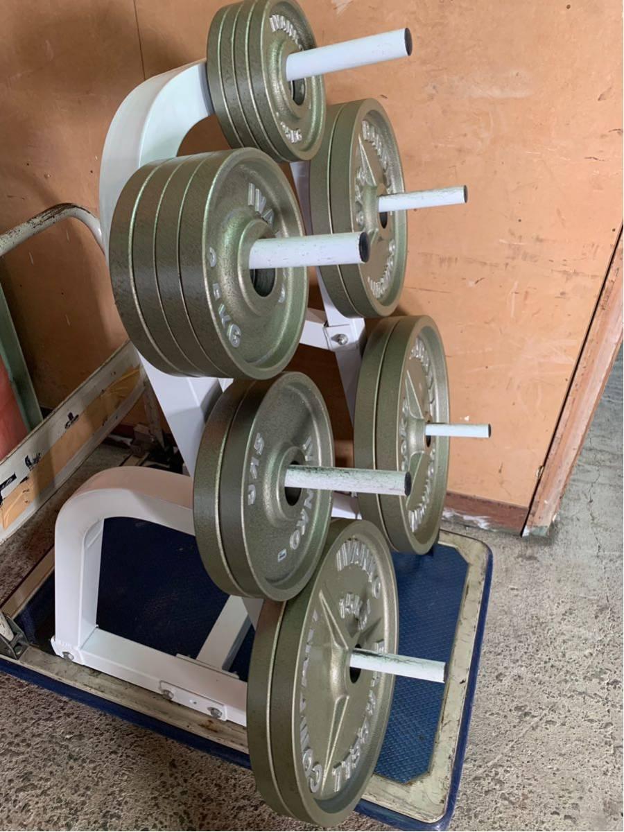 Φ50 オリンピックプレート イヴァンコ IVANKO BARBELL COMPANY バーベル プレート スタンド(ラック) 付き 合計115kg an_画像9