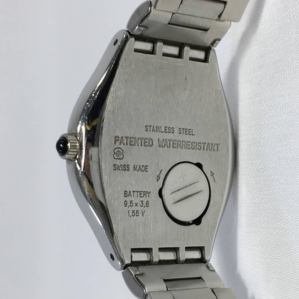 スウォッチ 腕時計 アイロニー AG1993 クォーツ デイト シルバー×ブラック Swatch Irony 電池交換済 稼働品_画像3