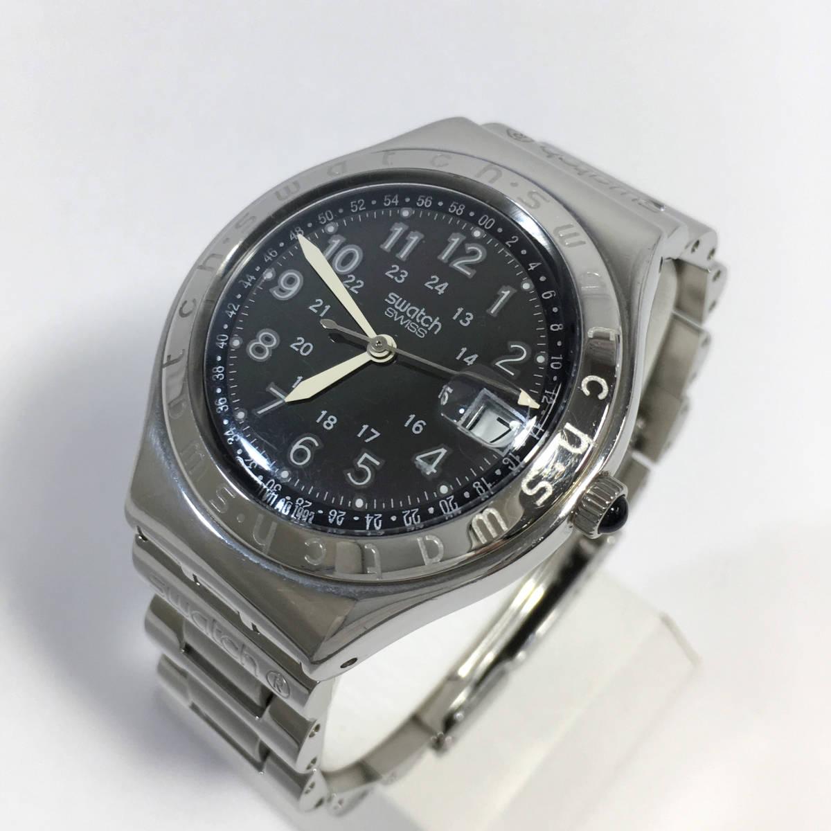 スウォッチ 腕時計 アイロニー AG1993 クォーツ デイト シルバー×ブラック Swatch Irony 電池交換済 稼働品
