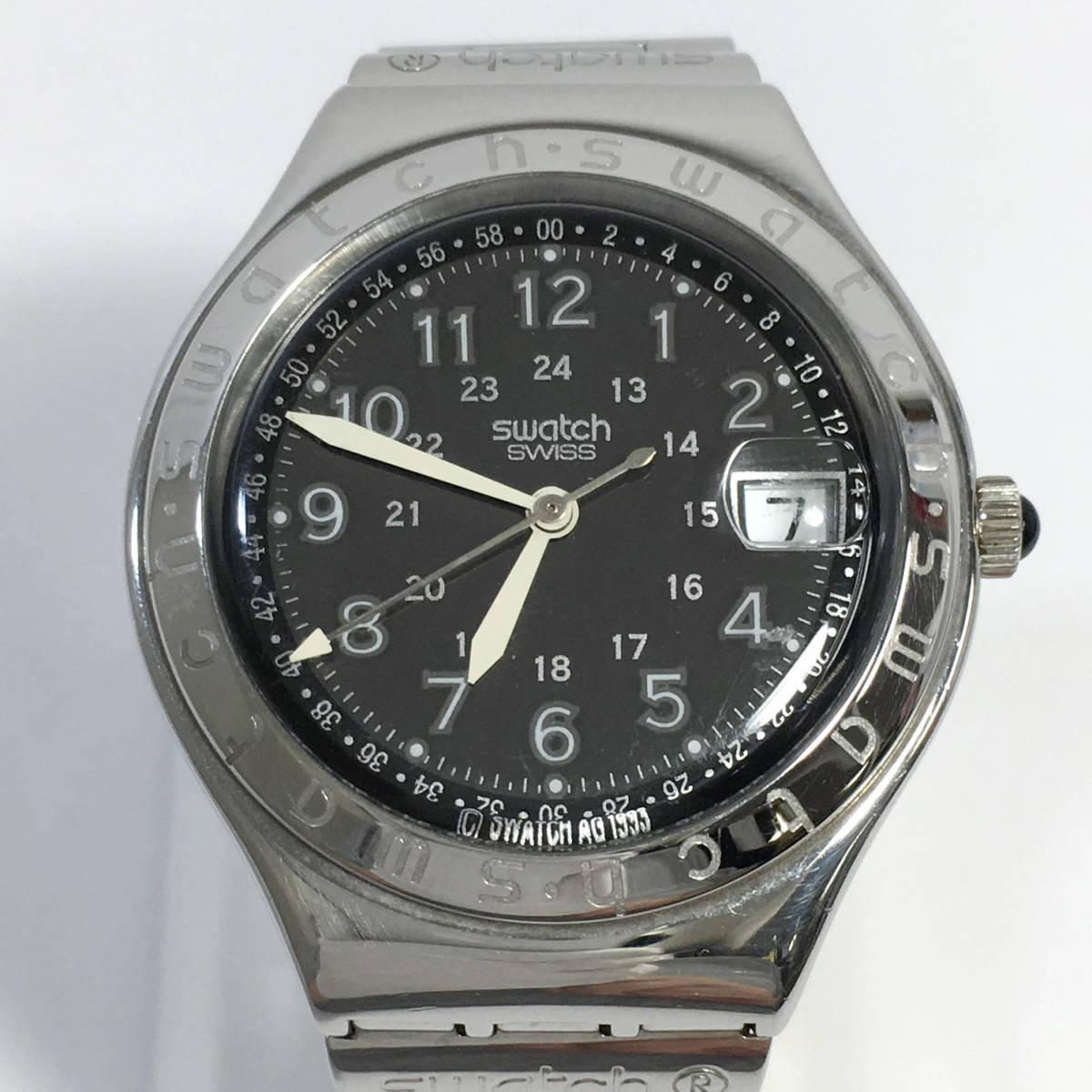 スウォッチ 腕時計 アイロニー AG1993 クォーツ デイト シルバー×ブラック Swatch Irony 電池交換済 稼働品_画像2