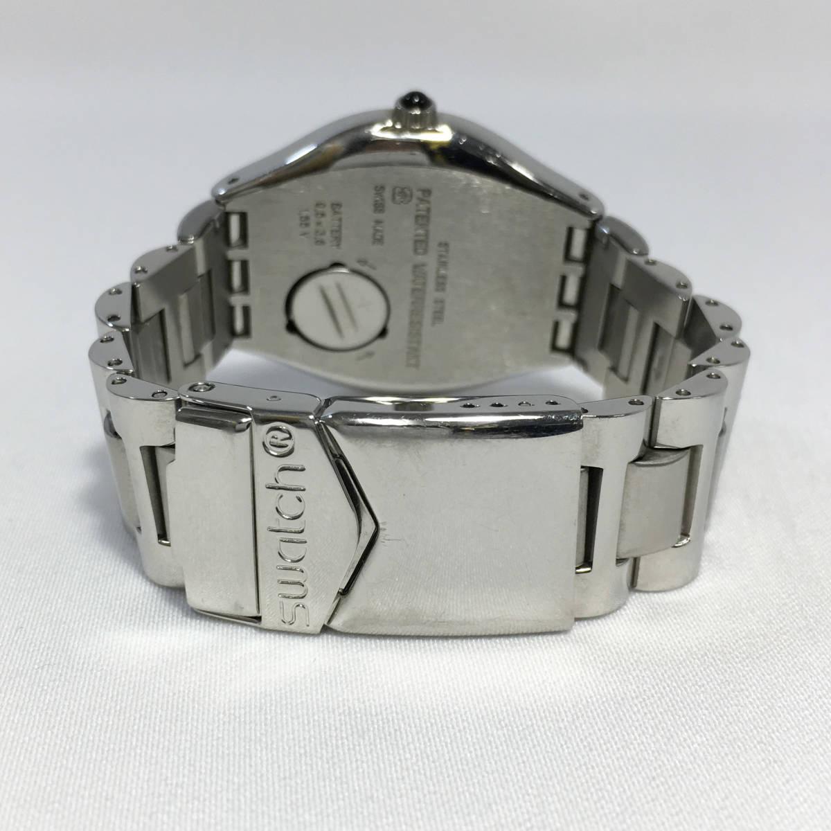 スウォッチ 腕時計 アイロニー AG1993 クォーツ デイト シルバー×ブラック Swatch Irony 電池交換済 稼働品_画像5