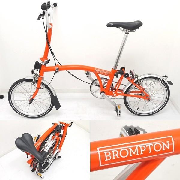 ブロンプトン 折り畳み自転車 M3L 2016年モデル オレンジ フォールディングバスケット・輪行バッグ付き_画像2