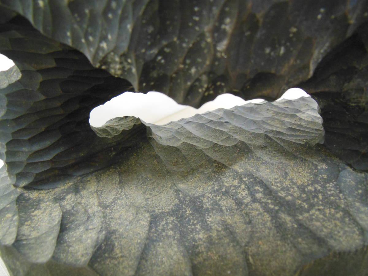 木彫り熊 彫刻 北海道民芸 アイヌ 八雲 工芸品 体長32cm アラキ作 作者 彫り _画像8
