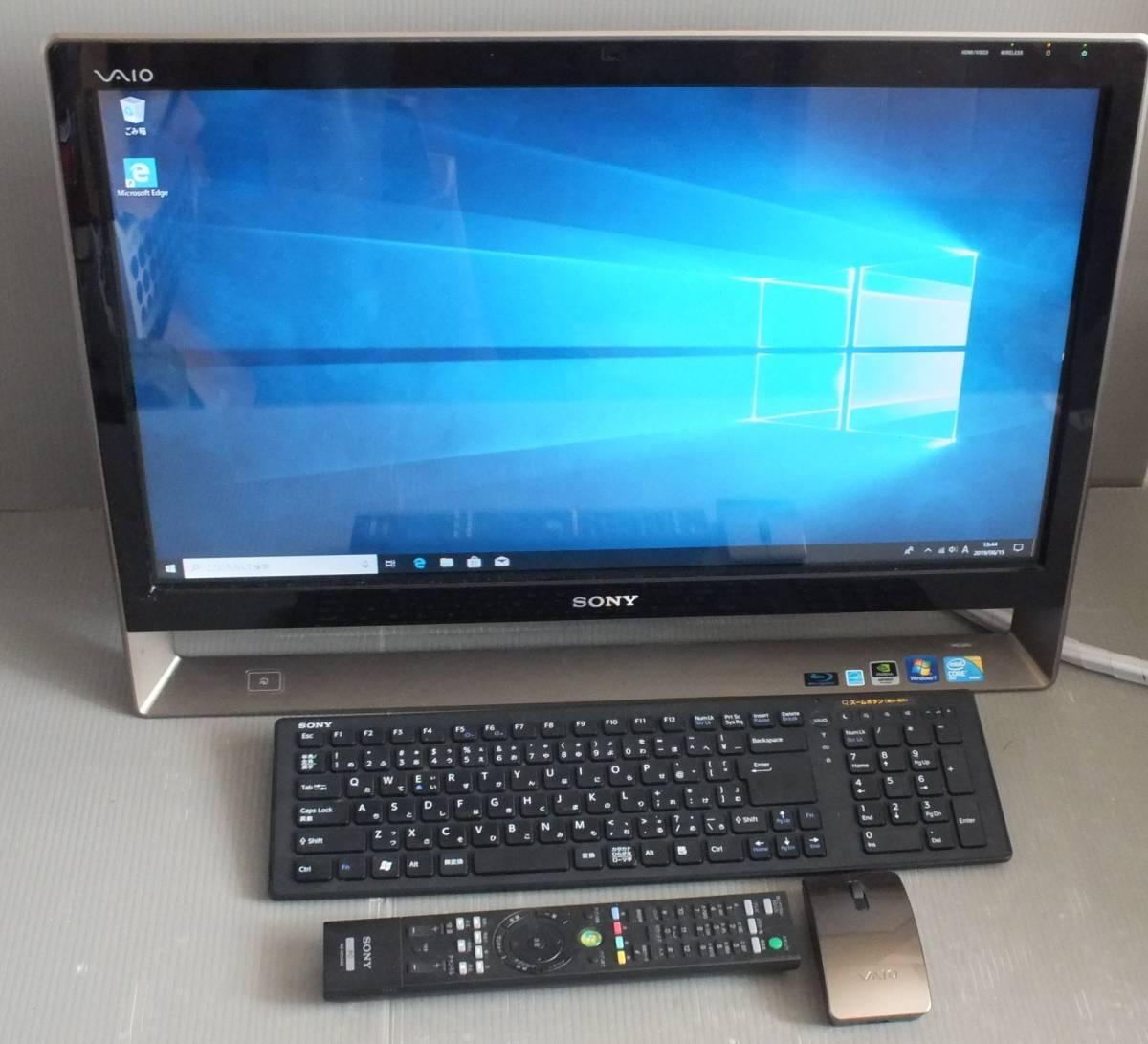 SONY VAIO デスクトップパソコン VPCL12AFJ Windows10 CORE2 Duo 無線マウス キーボード wifi BD DDR2 4GB 24インチ