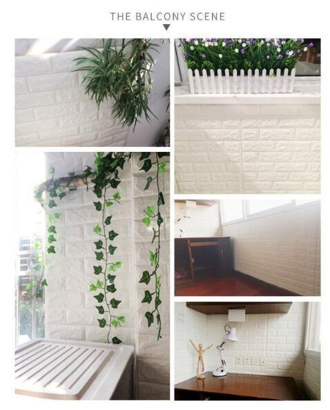 【新品未使用】3D壁紙 背景壁 防水 衝突防止 古い壁の改修 立体レンガ模様 貼り付けやすい 白50枚 77cm×70cm_画像4
