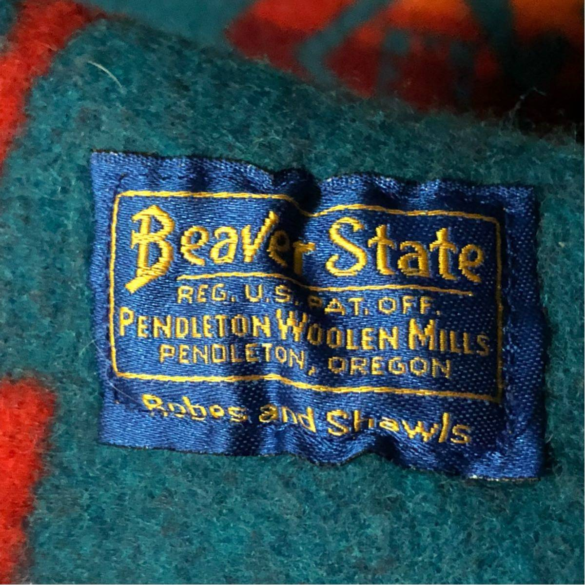 希少 USA製 BEAVER STATE ビーバーステート ネイティブ柄 ブランケット ラグ PENDLETON ペンドルトン / ウールシャツ キャンプなどにもok_画像9