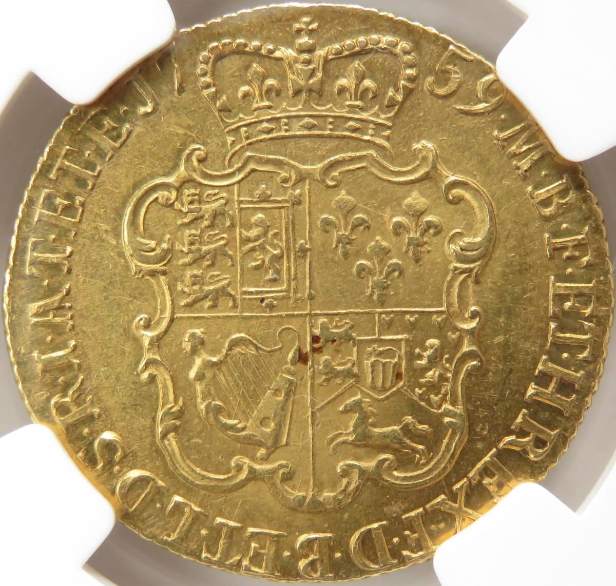 1759年 MS63 ギニー 金貨 ジョージ2世 イギリス NGC TOP POP 最高鑑定 UNC 未使用 S-3680 GUINEA オールド ハノーヴァー 紋章盾図 英国_ハノーヴァー選帝侯国と英国の統一紋章です