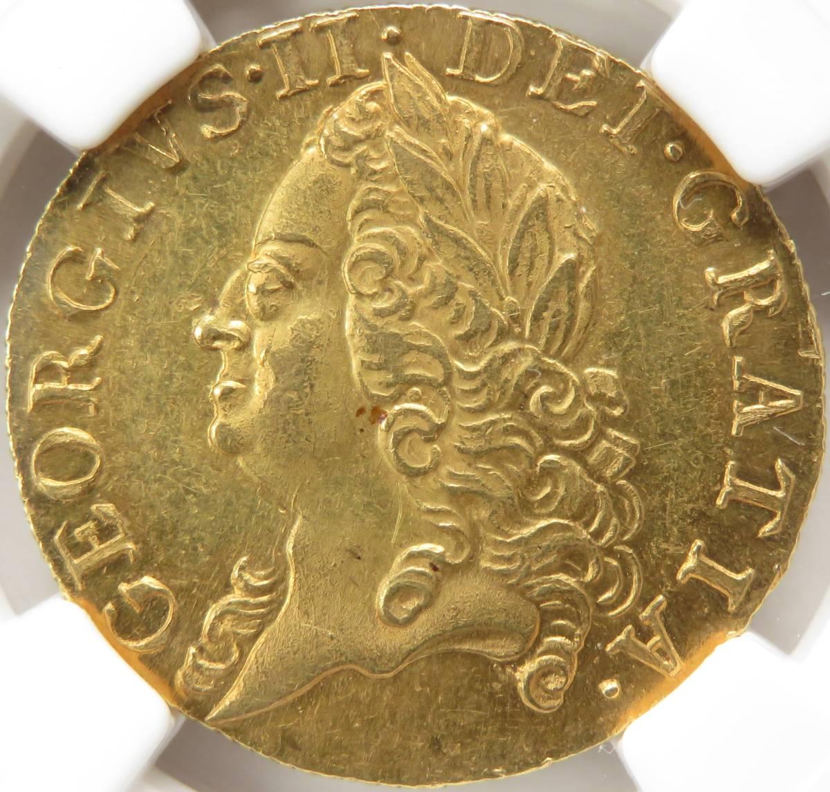 1759年 MS63 ギニー 金貨 ジョージ2世 イギリス NGC TOP POP 最高鑑定 UNC 未使用 S-3680 GUINEA オールド ハノーヴァー 紋章盾図 英国_はっきり明瞭な「ジョージ2世」像です!