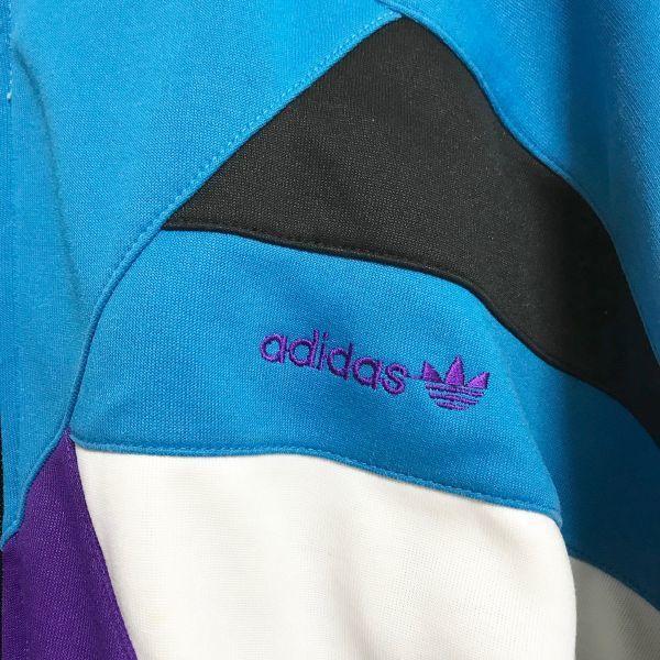 adidas アディダス トレフォイル トラックジャケット ジャージ ターコイズブルー ブラック ジップアップ ◆01790◆_画像4