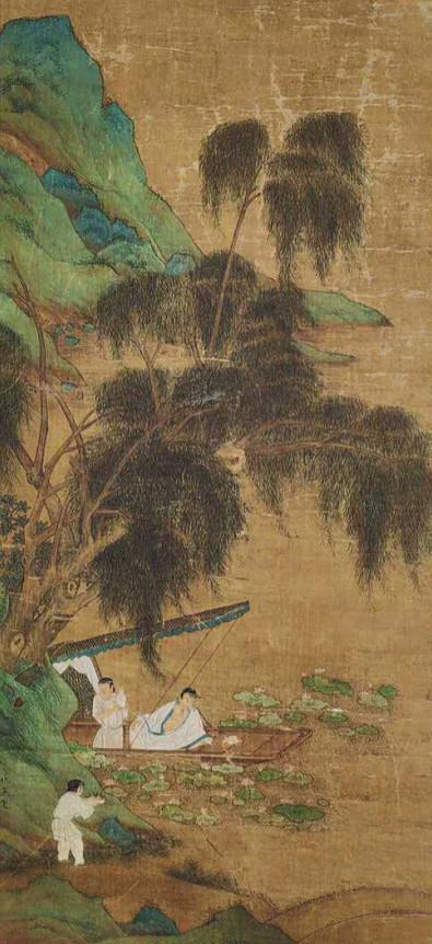 中国美術 仇英『山水人物』立軸 骨董品