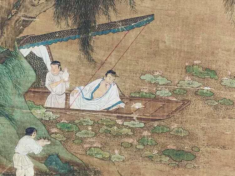 中国美術 仇英『山水人物』立軸 骨董品_画像4