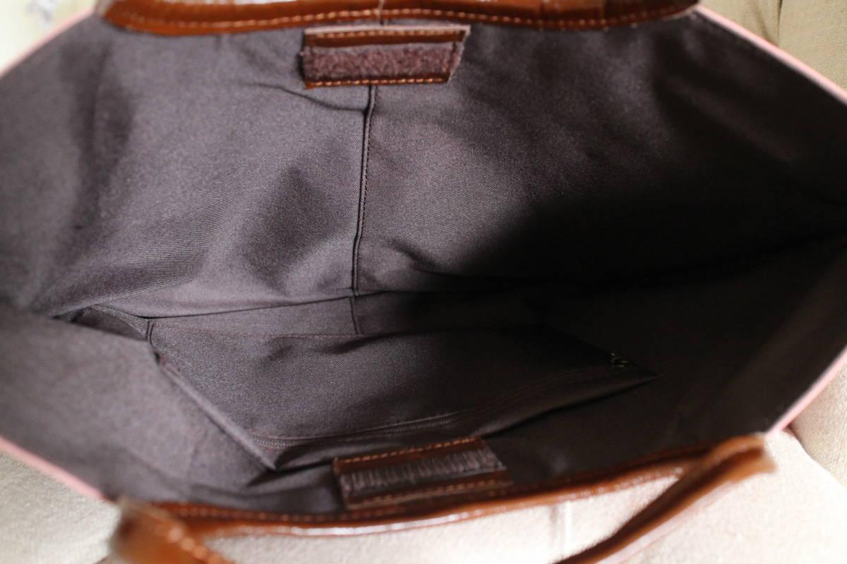 ■新品■未使用■フランス■BRONTIBAY PARIS■ブロテンィベイパリス■薄型軽量バッグスモーキーピンクA4収納可本革製持ち手美品sutekinabag_画像9