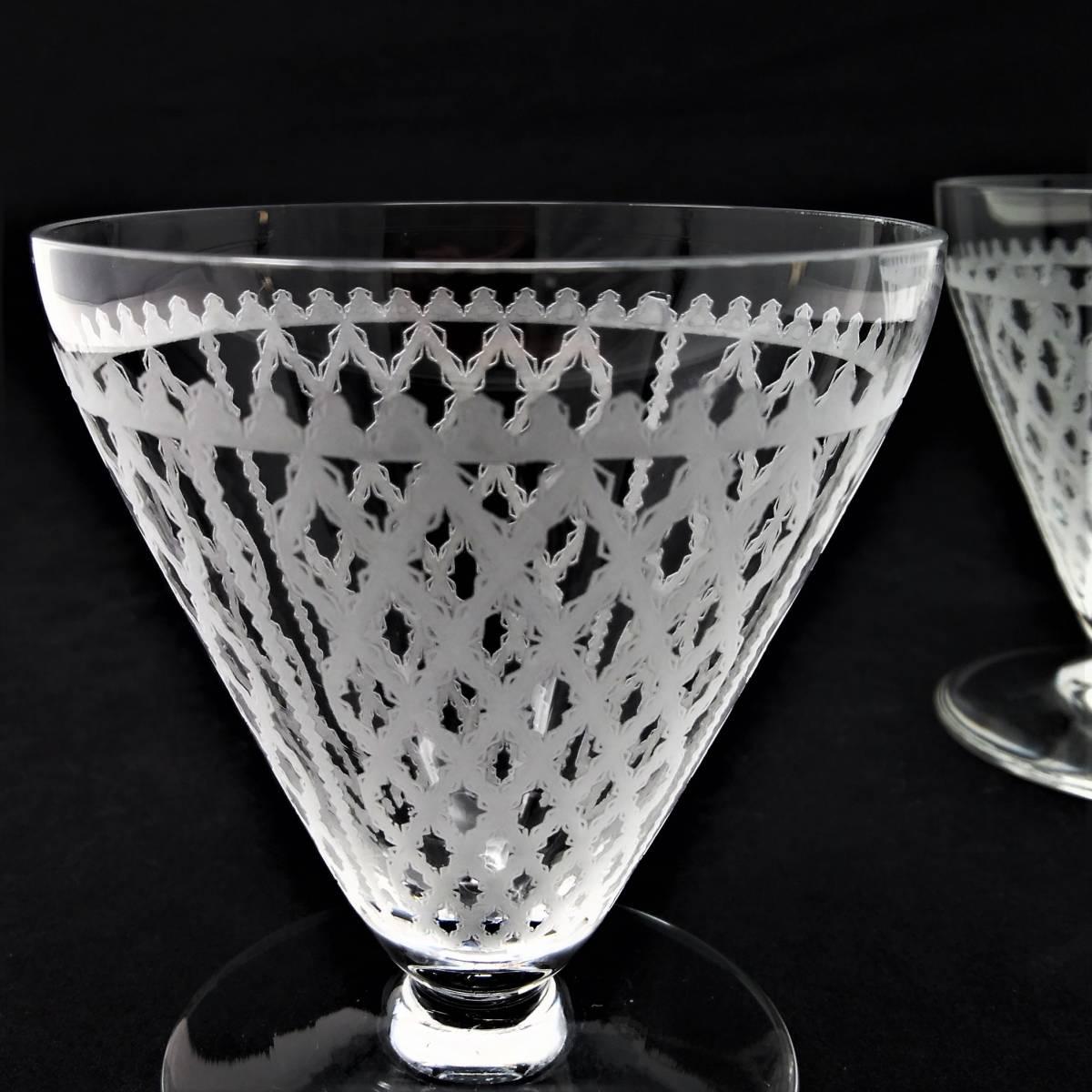 オールドバカラ BACCARAT アルハンブラ ALHAMBRA ワイングラス 2客セット H8.1cm 110◆ペア クリスタル リキュールグラス ショットグラス _画像6