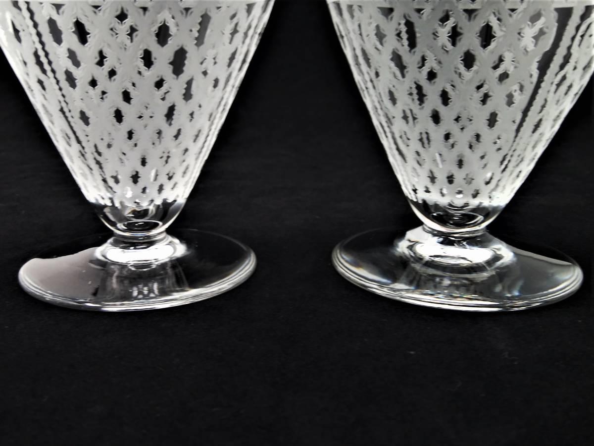 オールドバカラ BACCARAT アルハンブラ ALHAMBRA ワイングラス 2客セット H8.1cm 110◆ペア クリスタル リキュールグラス ショットグラス _画像10