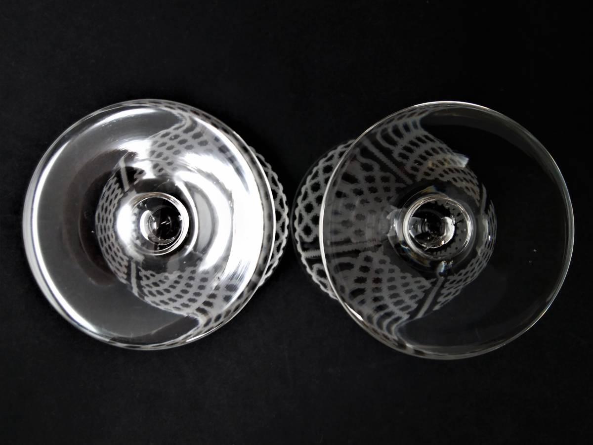 オールドバカラ BACCARAT アルハンブラ ALHAMBRA ワイングラス 2客セット H8.1cm 110◆ペア クリスタル リキュールグラス ショットグラス _画像5