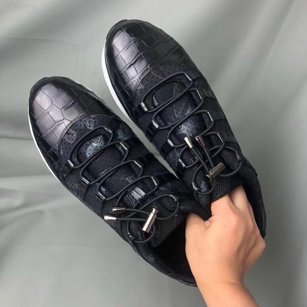 特注品【在庫希少!】 クロコダイル 腹革 紳士ビジネス 本物 スニーカー 天然ワニ革 靴 メンズシューズ 鰐本革 25.0cm_画像6