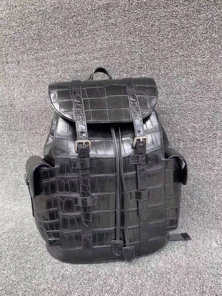 クロコダイル 腹革使用 本物保証 貴重品 ワニ革 メンズ 総本革 ブリーフケース鞄ショルダーバッグ_画像2