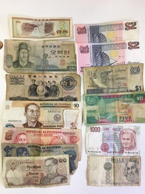 外国銭 外国札 古札 古銭 アメリカ ドル リバティ シンガポール 中国などおまとめ_画像3