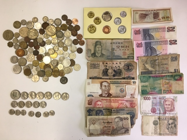 外国銭 外国札 古札 古銭 アメリカ ドル リバティ シンガポール 中国などおまとめ