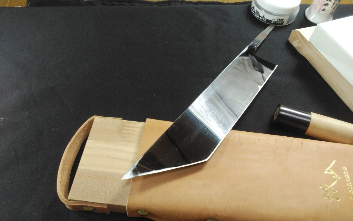 城山刃物製作所 7寸5分 江戸裂き 鰻裂 白二鋼 ウルトラ両鏡面_画像6
