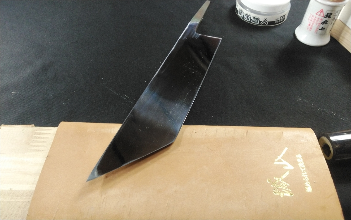 城山刃物製作所 7寸 江戸裂き 鰻裂き 白二鋼 ウルトラ両鏡面_画像5