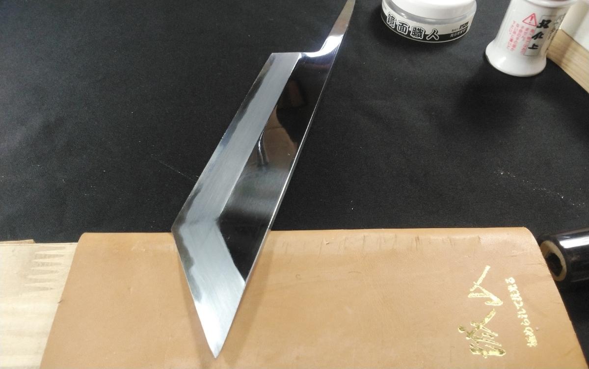 城山刃物製作所 7寸 江戸裂き 鰻裂き 白二鋼 ウルトラ両鏡面_画像4