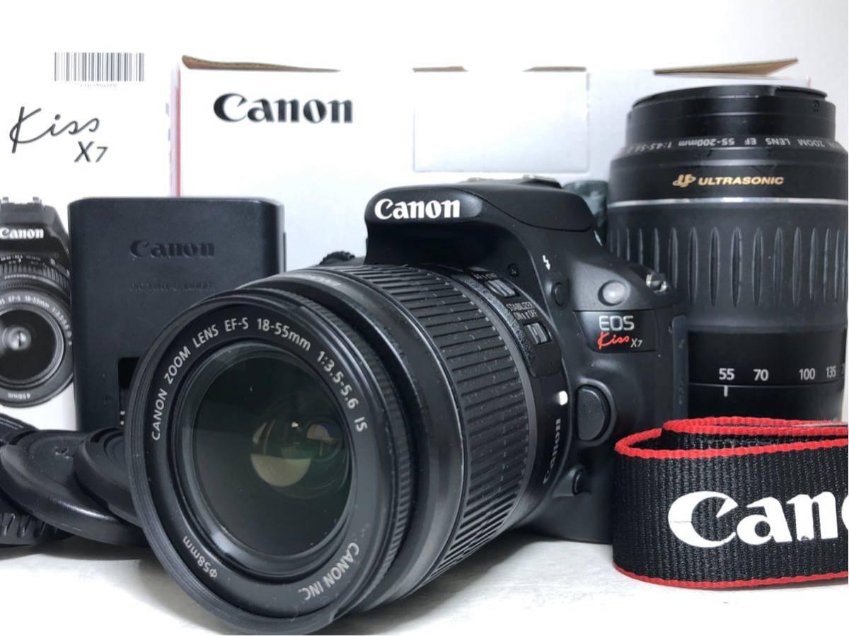 ◆美品◆キャノン Canon EOS KISS X7 ダブルレンズセット 元箱付き #6151