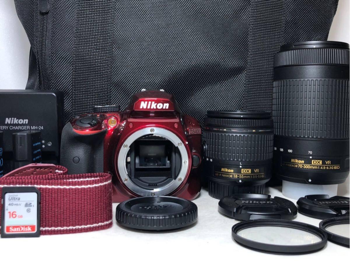 ◆新品級◆ニコン Nikon D3400 AF-P ダブルズームキット デジタル 一眼レフ レッド 16Gメモリ 予備バッテリー2個 Nikonバッグ付 6か月保証