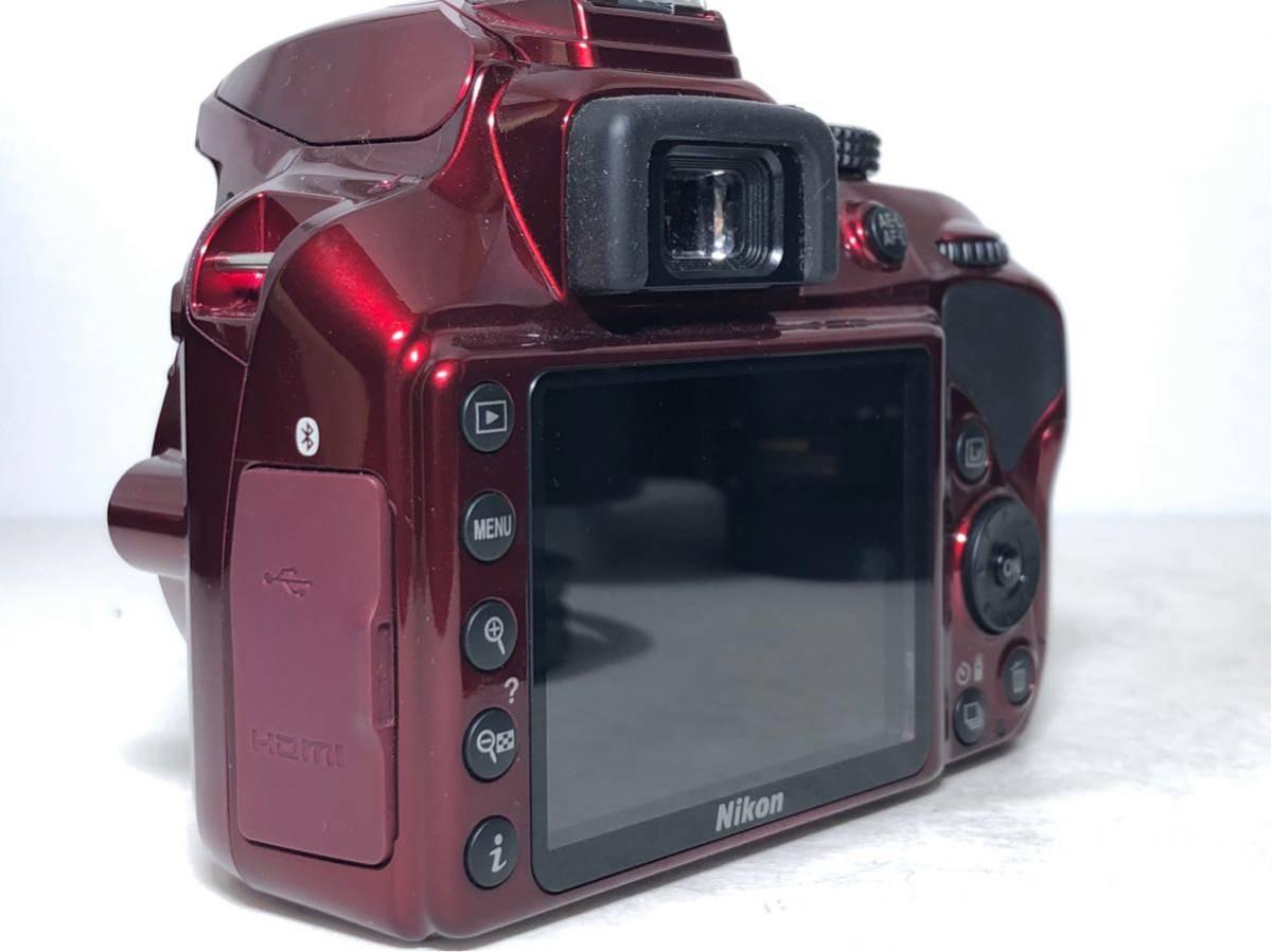 ◆新品級◆ニコン Nikon D3400 AF-P ダブルズームキット デジタル 一眼レフ レッド 16Gメモリ 予備バッテリー2個 Nikonバッグ付 6か月保証_画像3