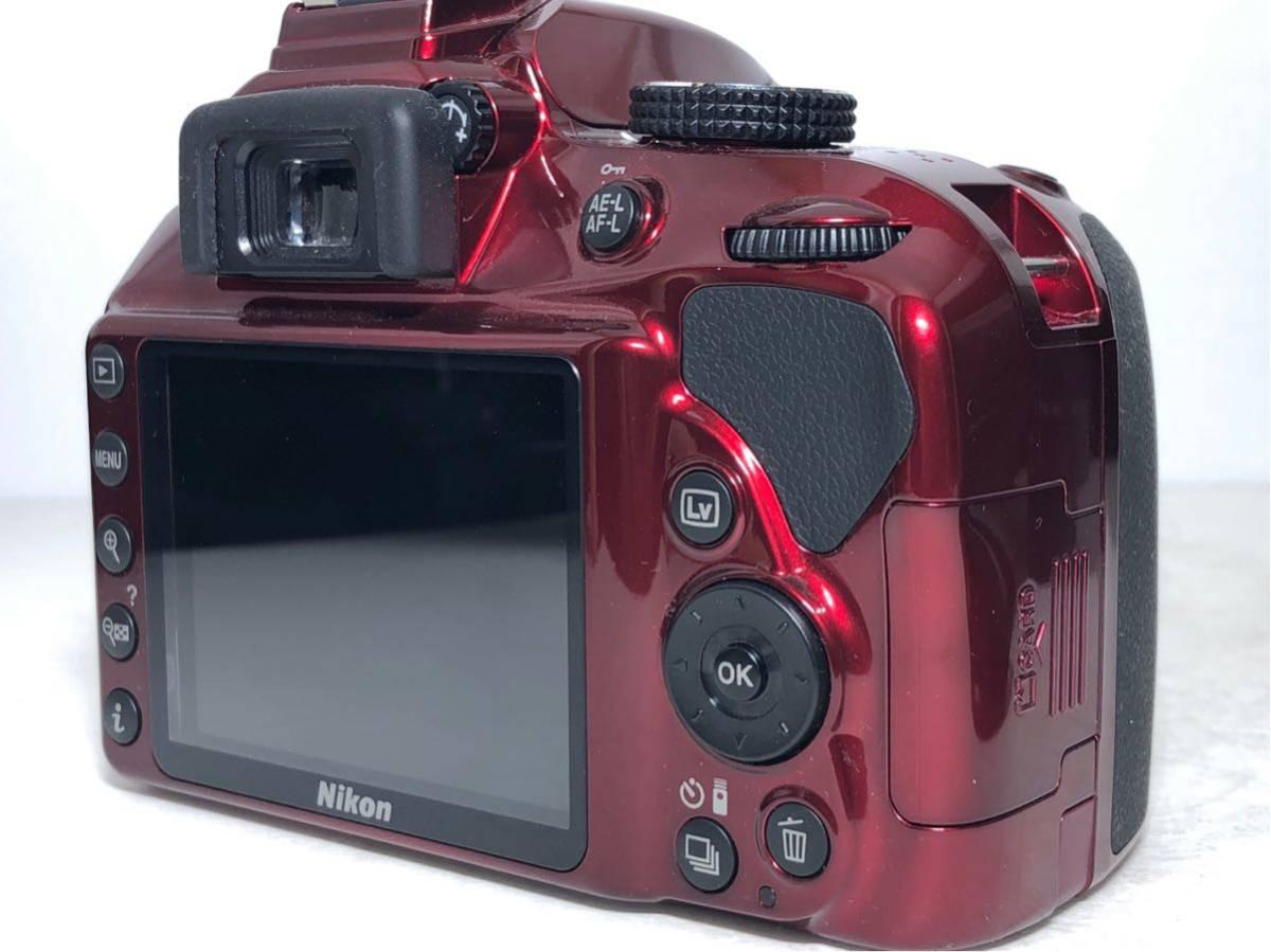 ◆新品級◆ニコン Nikon D3400 AF-P ダブルズームキット デジタル 一眼レフ レッド 16Gメモリ 予備バッテリー2個 Nikonバッグ付 6か月保証_画像5