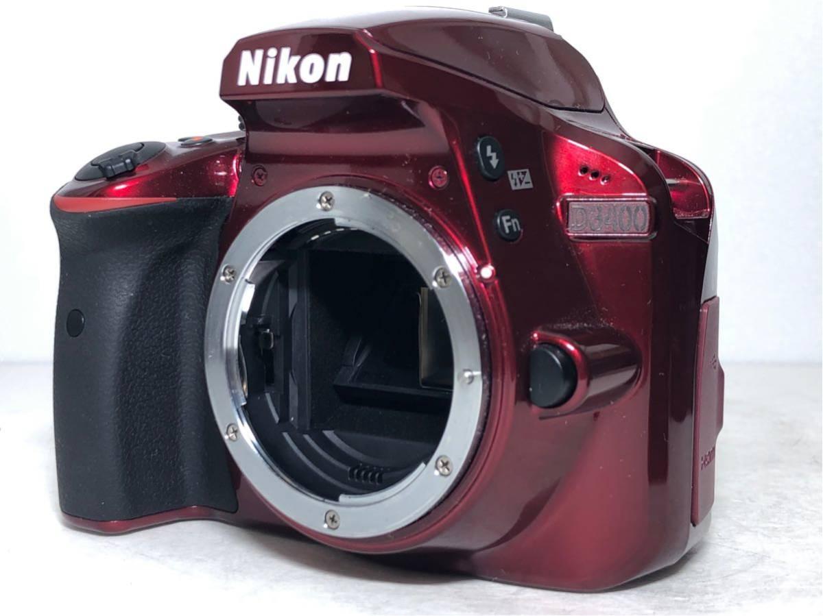 ◆新品級◆ニコン Nikon D3400 AF-P ダブルズームキット デジタル 一眼レフ レッド 16Gメモリ 予備バッテリー2個 Nikonバッグ付 6か月保証_画像2