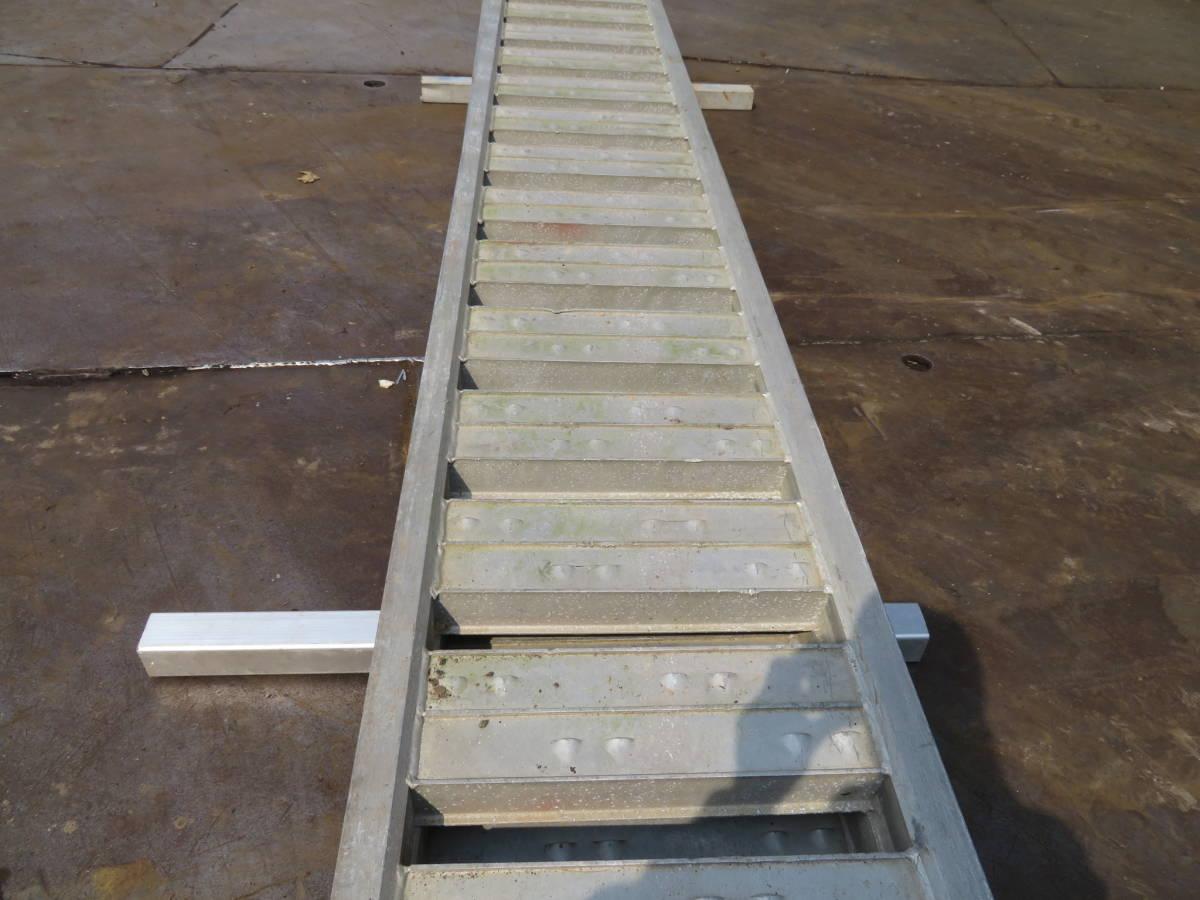 №147 アルミ歩み板 道板 3トン 6T トラック重機積み込み アルミラダー アルミブリッジ ショベル積載 中古2本セット 福岡_画像9