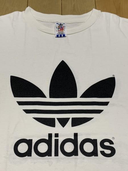 処分セール L 白 USA製 adidas アディダス トレフォイル ロゴ 両面 プリント 半袖 Tシャツ オールド 90's ビンテージ 当時物_画像2