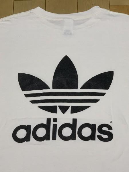 処分セール L 白 USA製 adidas アディダス トレフォイル ロゴ 両面 プリント 半袖 Tシャツ オールド 90's ビンテージ 当時物_画像4