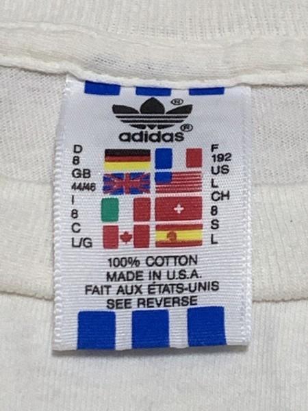 処分セール L 白 USA製 adidas アディダス トレフォイル ロゴ 両面 プリント 半袖 Tシャツ オールド 90's ビンテージ 当時物_画像6