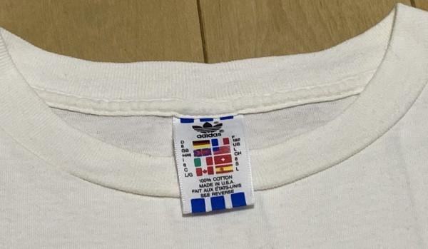 処分セール L 白 USA製 adidas アディダス トレフォイル ロゴ 両面 プリント 半袖 Tシャツ オールド 90's ビンテージ 当時物_画像8