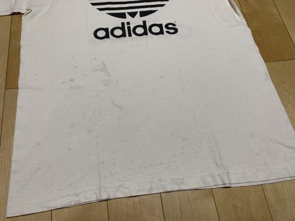 処分セール L 白 USA製 adidas アディダス トレフォイル ロゴ 両面 プリント 半袖 Tシャツ オールド 90's ビンテージ 当時物_画像7