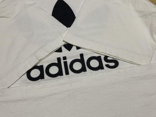 処分セール L 白 USA製 adidas アディダス トレフォイル ロゴ 両面 プリント 半袖 Tシャツ オールド 90's ビンテージ 当時物_画像5