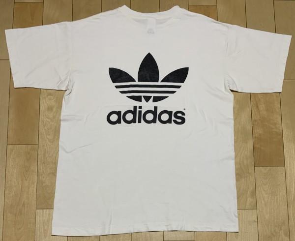 処分セール L 白 USA製 adidas アディダス トレフォイル ロゴ 両面 プリント 半袖 Tシャツ オールド 90's ビンテージ 当時物_画像3