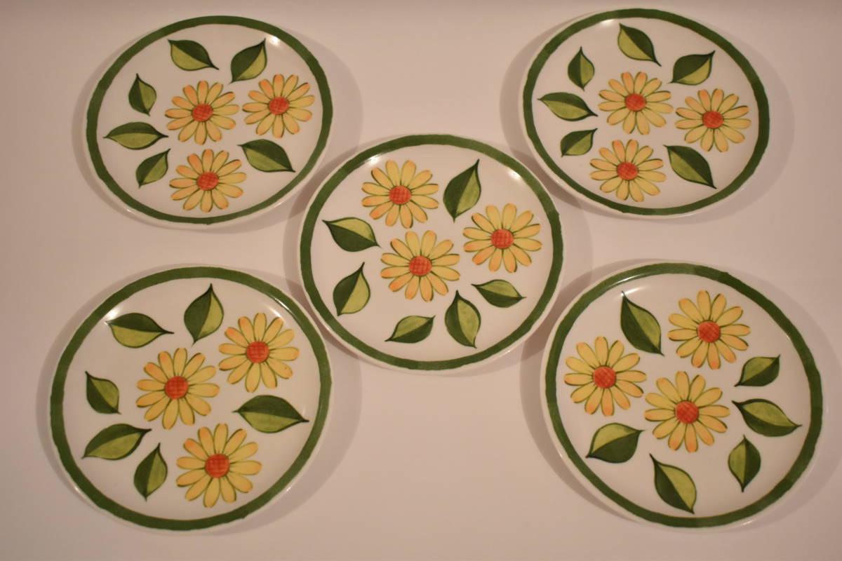 【未使用】ミスタードーナツ スペイン風 花柄 小皿 5枚セット 陶器*プレート*マーガレット*フラワー*レトロポップ*食器*レトロ*ミスド_画像1