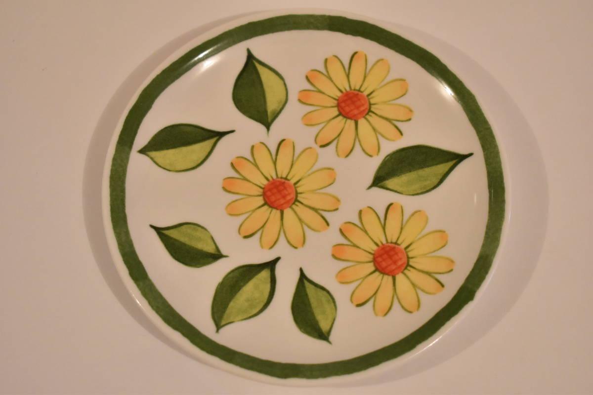 【未使用】ミスタードーナツ スペイン風 花柄 小皿 5枚セット 陶器*プレート*マーガレット*フラワー*レトロポップ*食器*レトロ*ミスド_画像5