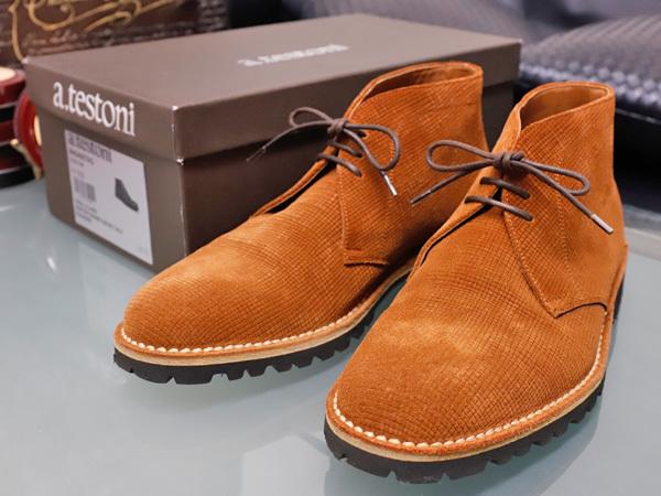 新品同 テストーニ 高機能 XL EXTRALIGHT ソール IDEAL CLARK デザートブーツ メンズ5.5 紳士革靴 シューズ 元箱付 TESTONI 本物 正規
