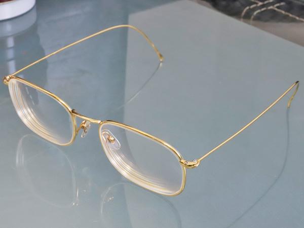 極上品 ロトス LOTOS 極希少 フルリム K18イエローゴールド フレーム 眼鏡 サングラス 750YG アイウェア YG18KT 本物 正規_画像3