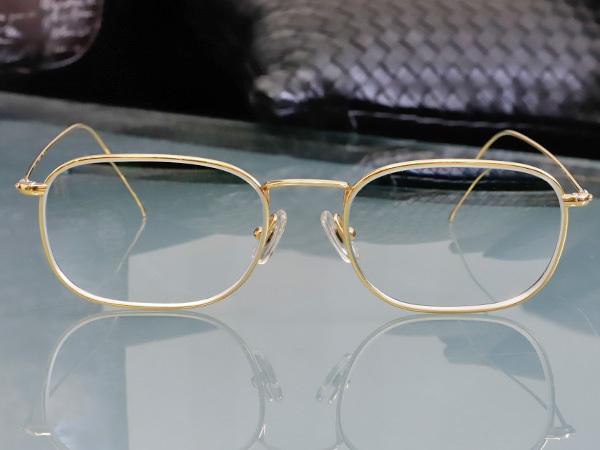 極上品 ロトス LOTOS 極希少 フルリム K18イエローゴールド フレーム 眼鏡 サングラス 750YG アイウェア YG18KT 本物 正規_画像2