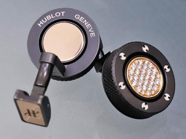 ウブロ HUBLOT 絶盤 K18ゴールド/パヴェダイヤモンド ビッグバン ダブルフェイス カフリンクス メンズジュエリー カフス 元箱付 本物 正規_画像5