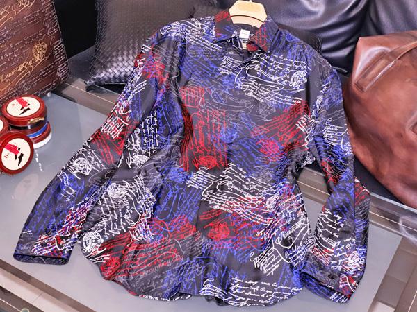 新品同 ベルルッティ 今季2019年 最新作 スクリット マルチカラー シルクシャツ メンズ41 紳士服 トップス KRIS VAN ASSCHE 本物 正規_画像2