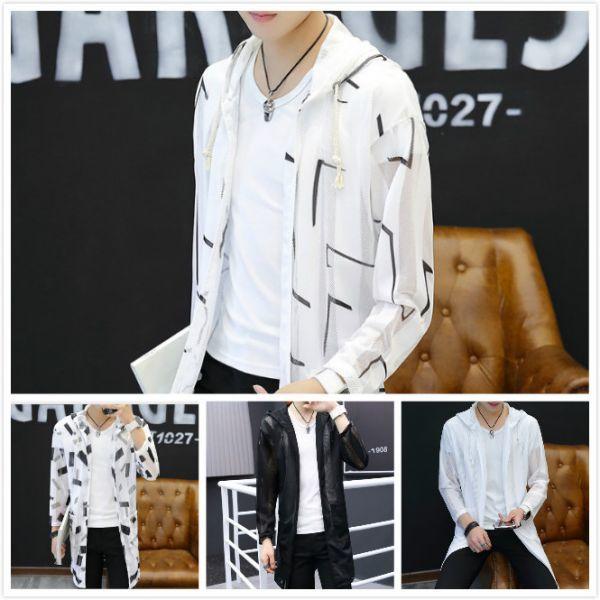 Lサイズ メンズ 日焼け止めジャケット フード付き ロング丈 長袖 薄手 アウトドア カジュアル サイズ選択可 4色 M~3XL 302#b_画像2